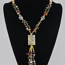 Brown Polished Agate,  Mixeded Corals & Cyrstal Bead Necklace 68.8 0 grams