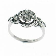 18KT WHITE GOLD DIAMOND CLUSTER WITH DIAMOND HALO RING (0.50CTS TW)