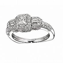 14KT WHITE GOLD PRINCESS CUT, BAGUETTE & ROUND DIAMOND ENGAGEMENT RING WITH MILGRAIN (1.00CTS TW