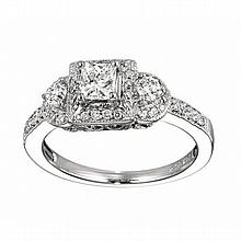 14KT WHITE GOLD PRINCESS CUT & ROUND DIAMOND ENGAGEMENT RING WITH MILGRAIN (0.75CTS TW)