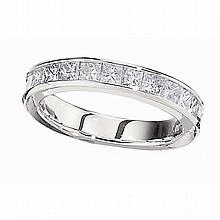 14KT WHITE GOLD CHANNEL SET 1 CARAT PRINCESS CUT WEDDING BAND