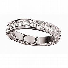 14KT WHITE GOLD CHANNEL SET 1 CARAT ROUND DIAMOND WEDDING BAND