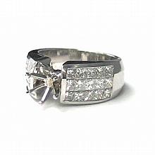 18KT WHITE GOLD THREE ROW INVISIBLE SET PRINCESS CUT ENGAGEMENT RING FOR 1 CARAT CENTER (2.52CTS TW)