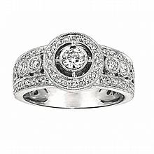 14KT WHITE GOLD BEZEL SET DIAMOND ENGAGEMENT RING WITH MILGRAIN (0.65CTS TW)