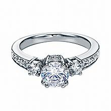 14KT WHITE GOLD ROUND DIAMOND ENGAGEMENT RING WITH MILGRAIN FOR 0.75 CARAT CENTER (0.35CTS TW)