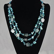 Blue Agate & Shell, Crystal Bead Necklace 38.50 grams