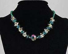 Blue Agate & Crystal Bead Necklace 38.50 grams