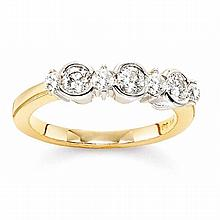 14KT TWO-TONE SEVEN ROUND DIAMOND RING (0.75CTS TW)