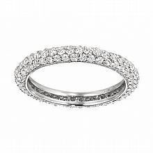 18KT WHITE GOLD PAVÉ DIAMOND ETERNITY WEDDING BAND (1.50CTS TW)