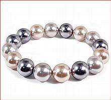 Shell Pearl Stretch Bracelet - Multi-color(Peach/Grey/Charcoal) - 12 mm