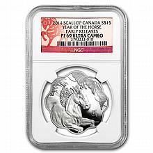 2014 Silver Canadian $15 Lunar Lotus Horse - PF-69 UCAM NGC - ER