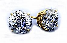 GIA Certified 0.96 ct Stud Earring, G,I1,I3 14kt W/Y Gold