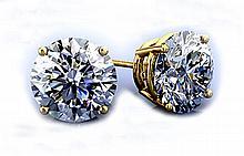 GIA Certified 1.00 ct Stud Earring, J,I2 14kt W/Y Gold