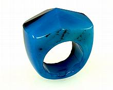 Natural Blue Agate Bi-color Charm Ring, Size 10.5