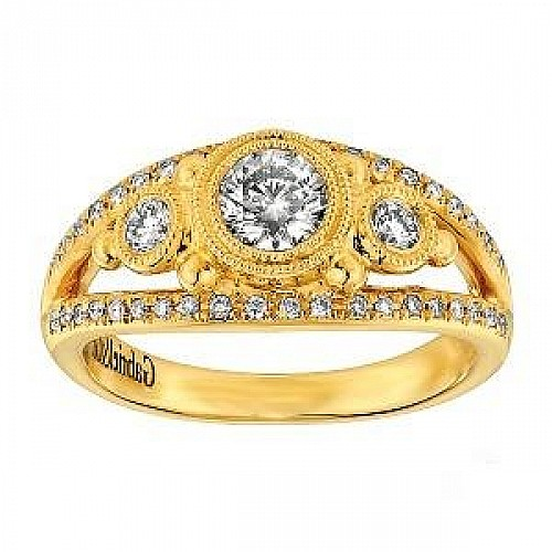 18KT YELLOW GOLD ANTIQUE STYLE DIAMOND ENGAGEMENT RING (0.75CTS TW)