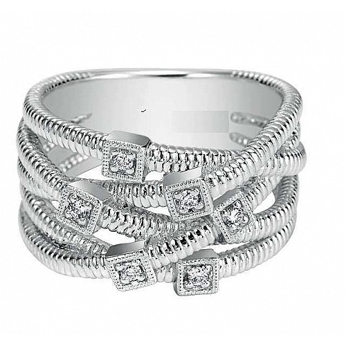 SILVER MULTI ROW TWISTED DIAMOND RING (0.08CTS TW)