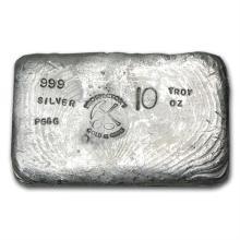 10 oz Prospector's Gold & Gems Silver Bar .999 Fine