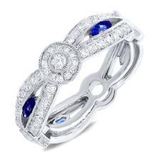 Genuine 0.82ct Diamond & 0.35ct Blue Sapphire Lady's Ring 14K White Gold - #121N3R