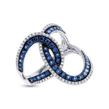 Genuine 0.24ct Diamond & 0.83ct Blue Sapphire Ring 14K White Gold - #68A8K