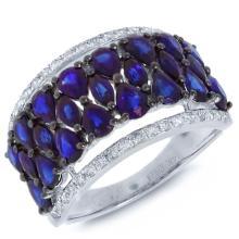 Genuine 0.31ct Diamond & 3.43ct Blue Sapphire Ring 14K White Gold - #69R4A