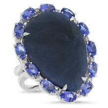 Genuine 0.12ct Diamond & 27.0ct Blue Sapphire, Tanzanite Ring 18K White Gold - #178W2Y