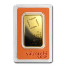 Fine Gold Bar 50 gram - Valcambi (Pressed w/Assay)