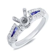 Genuine 0.32ct Diamond & 0.24ct Blue Sapphire Semi-mount Ring 14K White Gold - #69A4K