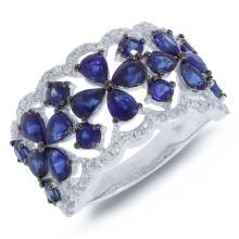 Genuine 0.36ct Diamond & 3.46ct Blue Sapphire Ring 14K White Gold - #73M2T