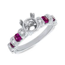 Genuine 0.36ct Diamond & 0.76ct Ruby Semi-mount Ring 14K White Gold - #71A3K