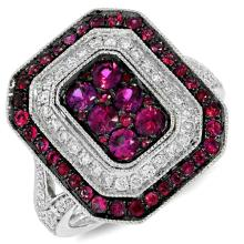Genuine 0.41ct Diamond & 1.07ct Ruby Ring 14K White Gold - #117H5X