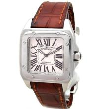 Pre-owned Midsize Cartier Stainless Steel Santos 100 - #440V1R