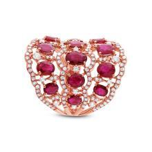 Genuine 1.04ct Diamond & 4.18ct Ruby Ring 14K Rose Gold - #225Y2H