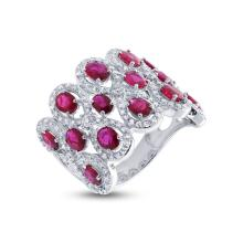 Genuine 0.92ct Diamond & 2.65ct Ruby Ring 14K White Gold - #168T8F