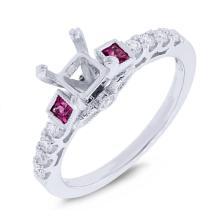 Genuine 0.24ct Diamond & 0.23ct Ruby Semi-mount Ring 14K White Gold - #42R5A