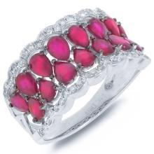 Genuine 0.29ct Diamond & 3.01ct Ruby Ring 14K White Gold - #60Z7N