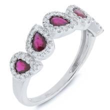 Genuine 0.32ct Diamond & 0.91ct Ruby Ring 14K White Gold - #48H2X