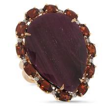 Genuine 0.12ct Diamond & 29.14ct Flat Rose Cut Ruby, Garnet Ring 18K Rose Gold - #178R2A