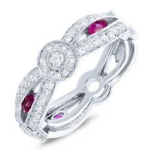 Genuine 0.82ct Diamond & 0.33ct Ruby Lady's Ring 14K White Gold - #121V3W