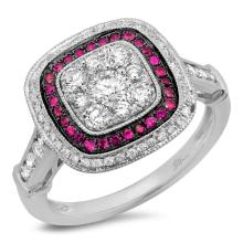 Genuine 0.77ct Diamond & 0.17ct Ruby Ring 14K White Gold - #117R5A