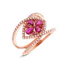 Genuine 0.34ct Diamond & 0.80ct Ruby Ring 14K Rose Gold - #68H8X