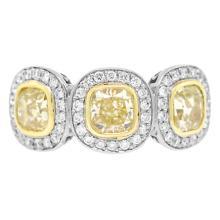 Genuine 2.63ct Platinum Cushion Cut Natural Fancy Yellow Diamond Ring Platinum - #650R7A