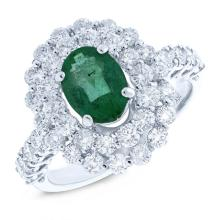 Natural 1.61ct Diamond & 1.18ct Emerald Ring 18K White Gold - Ref#-265r2a