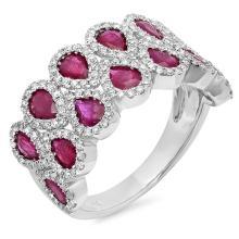 Natural 0.77ct Diamond & 2.31ct Ruby Ring 14K White Gold - Ref#-115p2g
