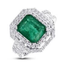 Natural 1.29ct Diamond & 3.57ct Emerald Ring 18K White Gold - Ref#-465n2w