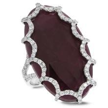 Natural 0.69ct Diamond & 21.57ct Flat Rose Cut Ruby Ring 18K White Gold - Ref#-265p2g