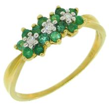 Natural 0.60ct Diamond & Emerald Ring 14K Yellow Gold - Ref#-21r2a