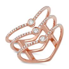 Natural 0.30ct Diamond Lady's Ring 14K Rose Gold - Ref#-70x2z