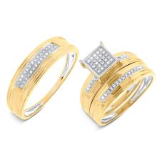 Natural 0.19ct Diamond Trio Set Pave 14K Yellow Gold - Ref#-90k2m