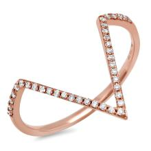 Natural 0.11ct Diamond Lady's Ring 14K Rose Gold - Ref#-26k2m