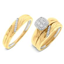 Natural 0.18ct Diamond Trio Set 14K Yellow Gold - Ref#-80n2w